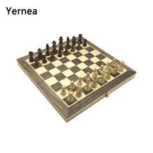 Yernea Magnetic Chess Games Wooden Chessboard Board Game Set Solid Wood Pieces Folding