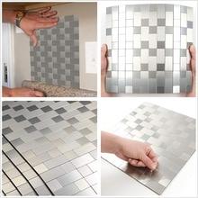 5 PCS Silver 3D Square Fixed Self-adhesive Aluminum Metal Mosaic for Bathroom Shower Tiles Kitchen Backsplash Tiles Dropshipping бордюр atlantic tiles nieve mate moldura 4x29 5