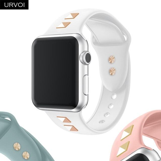 URVOI шипованных ремешок для apple watch series 4 3 2 1 ремешок для iwatch силиконовый с заклепками в стиле панк 38 40 42 44 мм