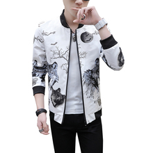 купить Mens Casual Jacket Outdoor Sportswear Windbreaker Lightweight Floral Print Bomber Jackets and Coats Japanese Harajuku дешево