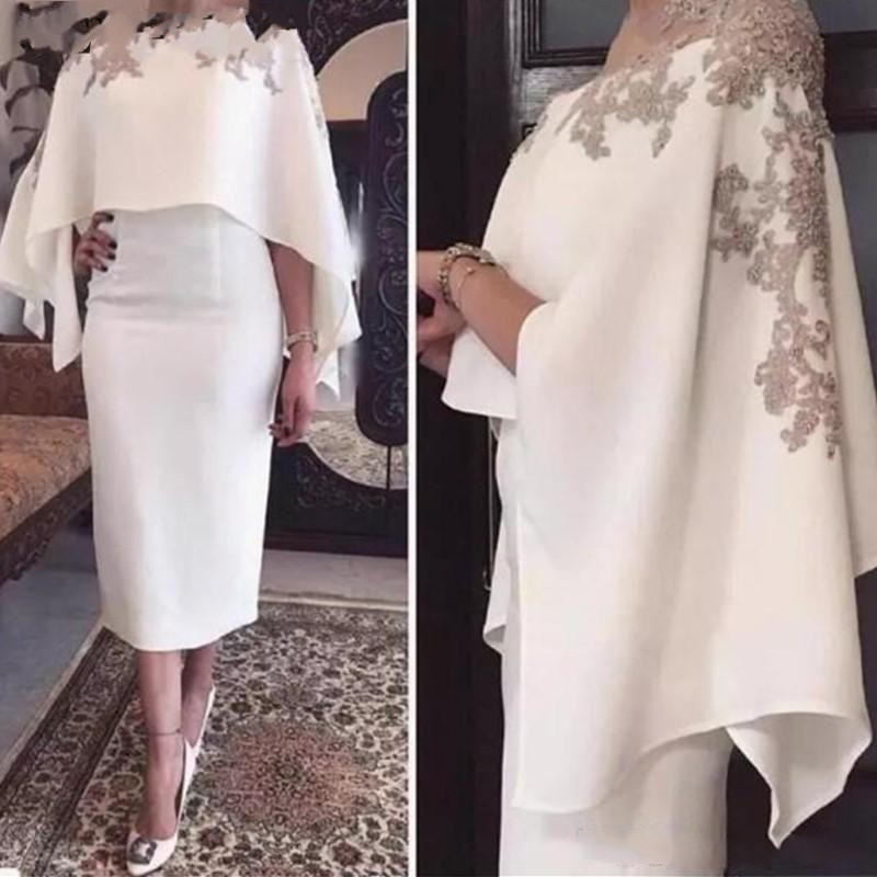Elegant White Short Mother of the Bride Dresses with Cape Shawl Tea Length Plus Size Sheath Evening Party Gowns Godmother Dress