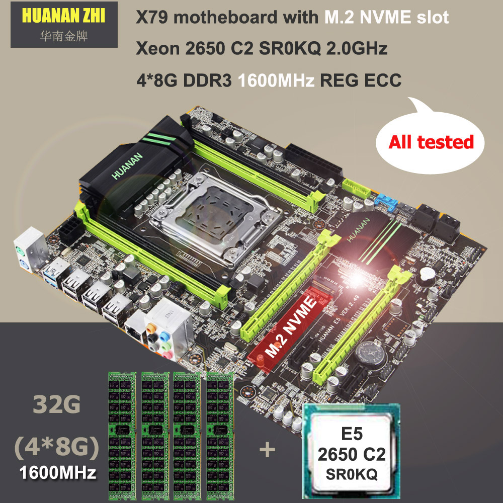 Buy brand motherboard HUANAN ZHI ATX X79 motherboard with M 2 slot CPU Intel Xeon E5