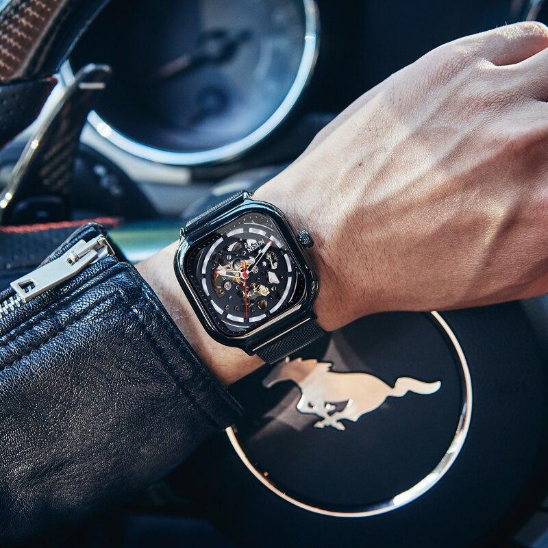 2018 Новая мода для мужчин часы механические часы полые Скелет световой браслет xfcs для мужчин наручные часы Zegarek Meski