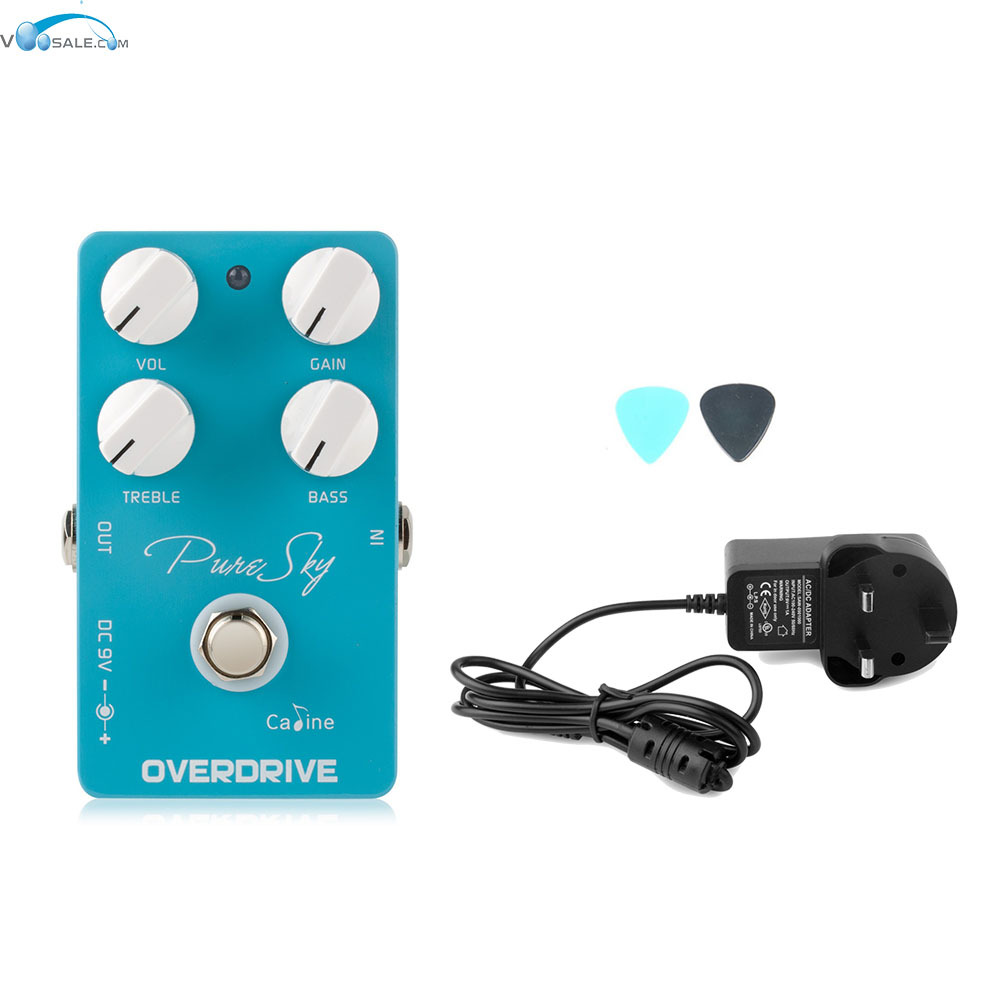 Caline CP-12 Pure Sky OD Guitar Effect Pedal Highly With True Bypass+AC100V-240V to DC9V/1A Adapter Use Have AU UK US EU Plug caline cp 26 guitar effect pedal snake bite reverb effect pedals true bypass design with delay effect no coloring sound