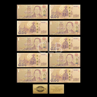 Wholesale Colorful Thailand Gold Banknote 500 Baht Plated Fake Thailand Notes with Certificate Card for Souvenir
