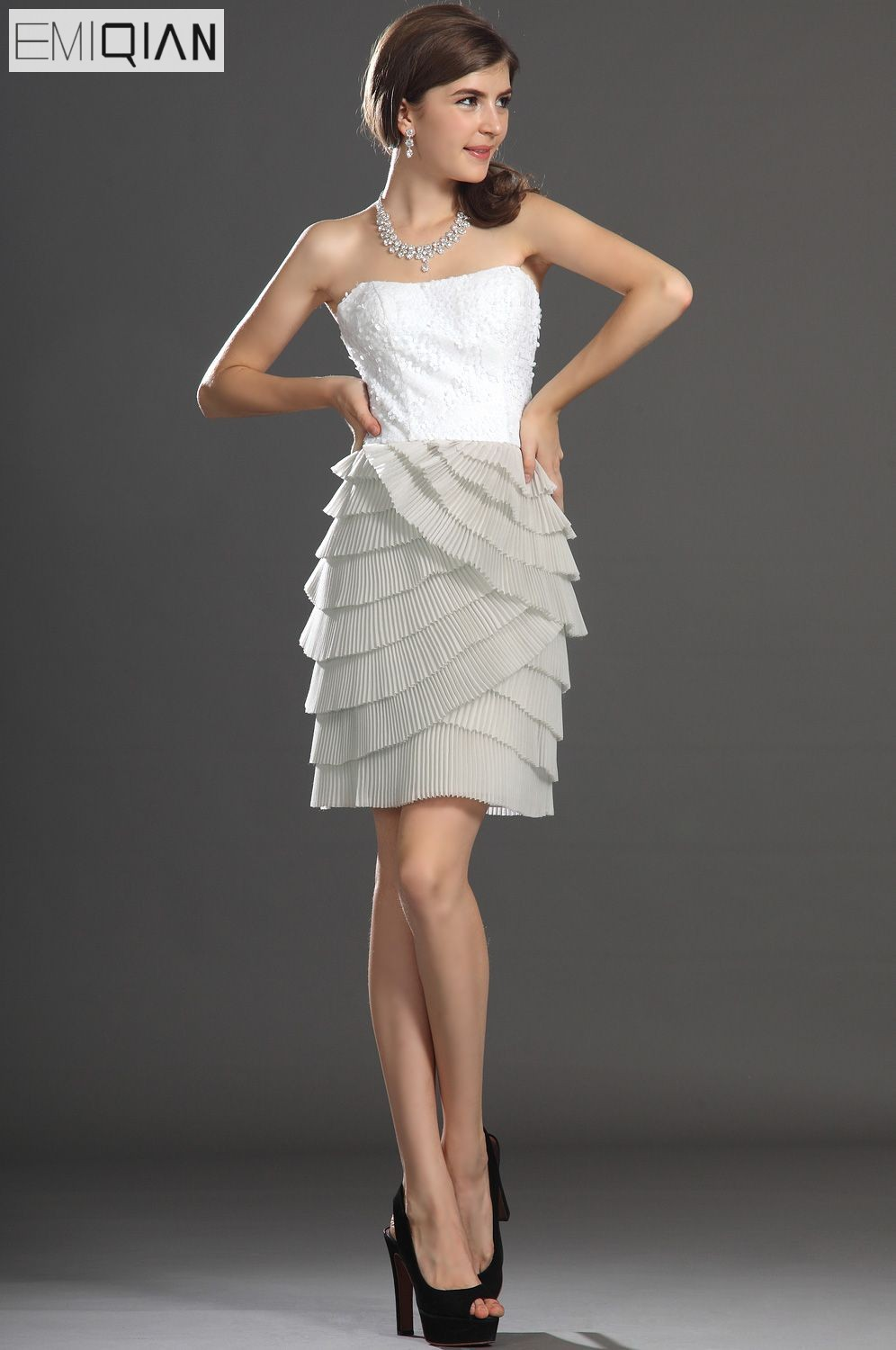 Free shipping New Arrivals Strapless Lovely Pleated Layered   Cocktail     Dress