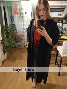 Image 5 - [AZURE SHEN] Non custom 2017 Herfst Mode Effen Zwart Casual Lange Vrouwen Jas Losse Oversized Jas Vrouwen Split Jassen U370