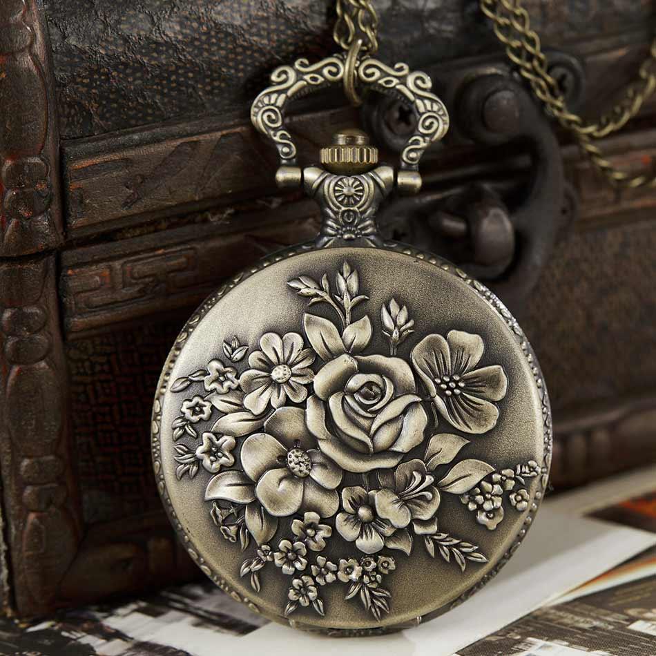 Vintage Craving Rose Flowers Fullmetal Alchemist Quartz Pocket Watch Men Women Necklace Pendant Chain Steampunk Retro Clock