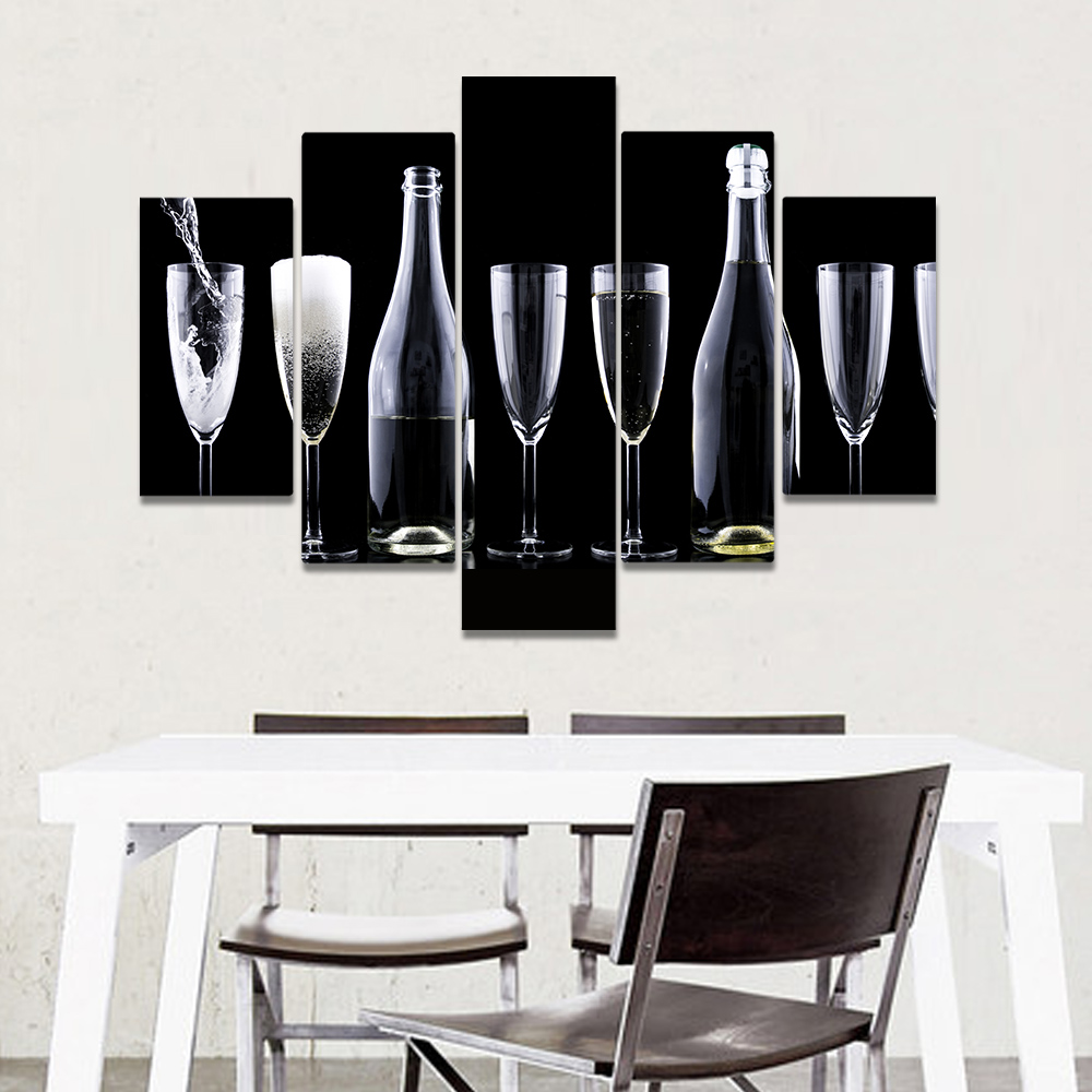 Unframed Canvas Painting Goblet Wine Glasses Wine Bottle Picture Prints Wall Picture For Living Room Wall Art Decoration