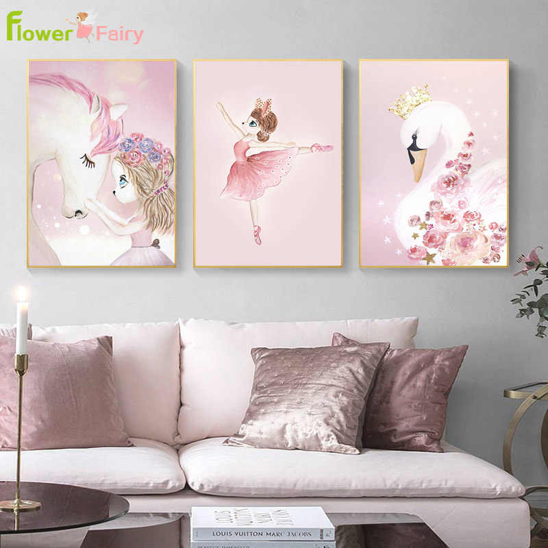 Baby Girl Room Decor Wall Art Canvas Painting Unicorn Nordic Poster Princess Wall Pictures For Living Room Art Prints Unframed