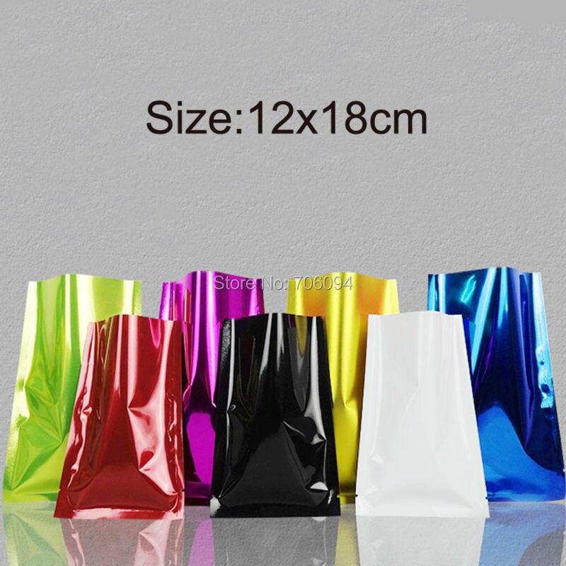100PCS 12*18cm(4.72*7.09)Colourful Heat Seal Plating Aluminum Foil Bags Snack Food Storage Package Plastic pouch vacuum bag