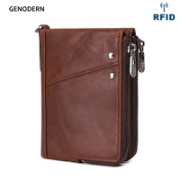 GENODERN Genuine Leather Wallets for Men RFID Short Zipper Men Wallet with Coin Purse Male Card holder Man Walet