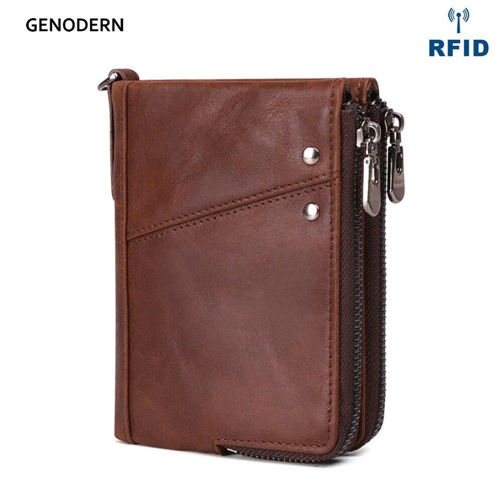 GENODERN Genuine Leather Wallets for Men RFID Short Zipper Men Wallet with Coin Purse Male Card holder Man Walet