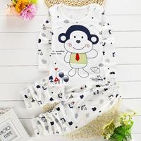 Children Kids Cartoon Printed Underwear Boys Girls Long Sleeve Cotton Shirt Pants 2 Piece Set Suits