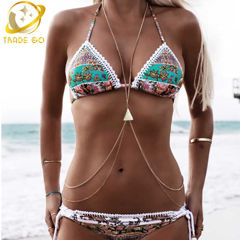 bikini harness bohemain body jewelry sexy breast chain bohemian gold silver plated maxi necklace