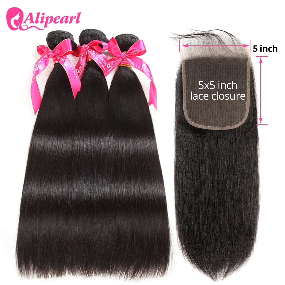 Alipearl Hair Hair-Extension Closure Weave Bundles Natural-Color Straight With 5x5 Brazilian-Hair