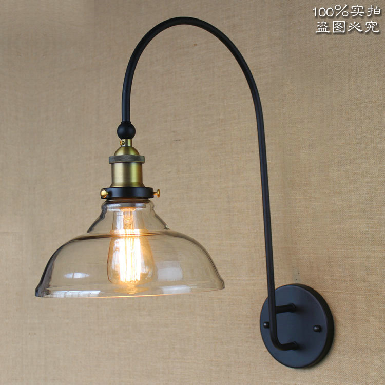 American Nordic Style High-grade Wall Lmap Large Curved Arm Black Iron Light Coffee Shop Light Bedroom Light Free Shipping
