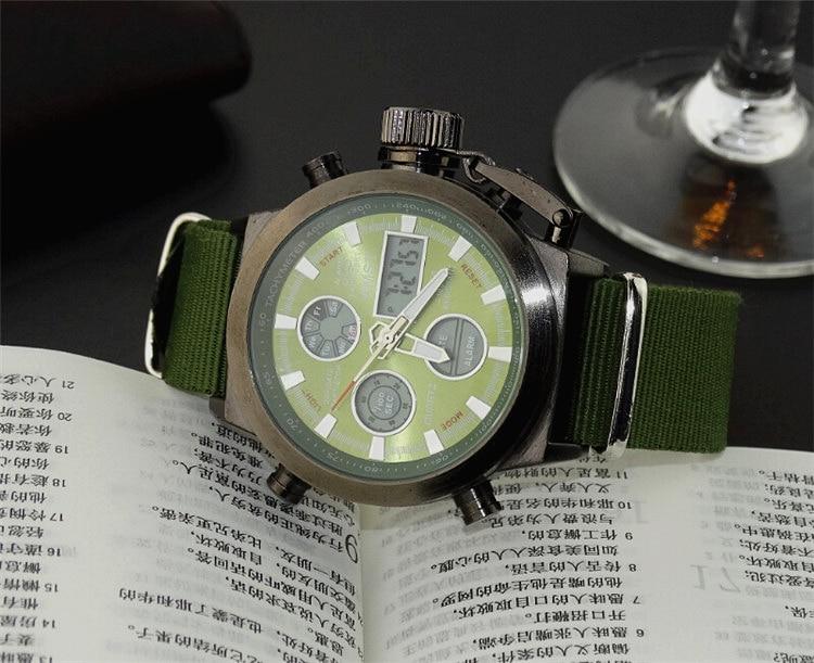 AMST Military Watches Dive 50M Nylon&Leather Strap LED Watches Men Top Brand Luxury Quartz Watch reloj hombre Relogio Masculino 14
