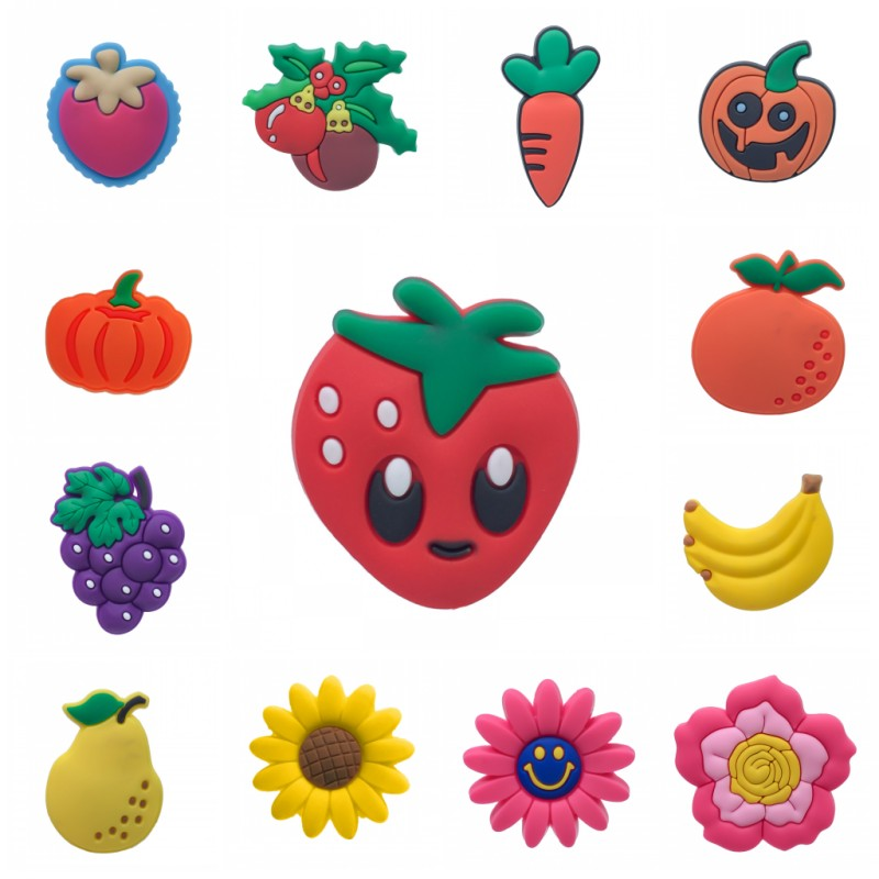 New 1pcs Lovely Fruit Flowers Shoe Charms Banana Grapes Pumpkin Strawberry Shoe Accessories Croc Charms JIBZ Kids Gift