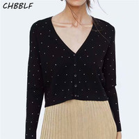 CHBBLF women V neck Rivet decorations sweaters long sleeve short style pullovers stylish female casual chic tops BFB8603