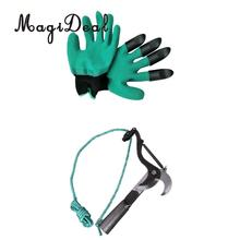 Garden Gloves for Digging & Planting with ABS Plastic Claws + Pruning Shears Flexible Branch Cutter Durable