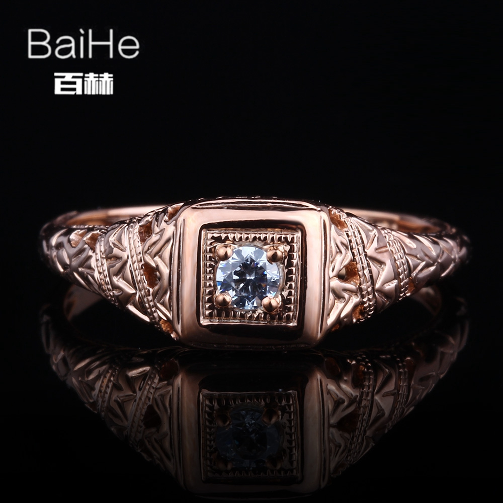 BAIHE Solid 14K Rose Gold(AU585) 3mm Certified Genuine AAA Graded Cubic Zirconia Flawless circular Wedding Women Trendy Ring BAIHE Solid 14K Rose Gold(AU585) 3mm Certified Genuine AAA Graded Cubic Zirconia Flawless circular Wedding Women Trendy Ring