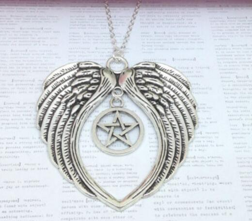 Vintage Silver Large Guardian Angel Wing Pentagram Necklaces Pendant Charms Statement Choker Necklaces Women Jewelry Gifts B427