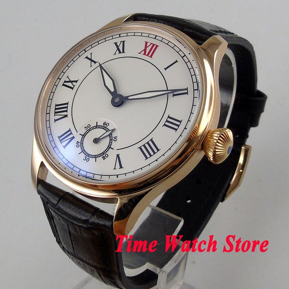 Parnis horloge 44mm golden case white dial Romeinse cijfers 17 juwelen 6498 mechanische hand winding uurwerk horloge 1027-in Mechanische Horloges van Horloges op  Groep 1