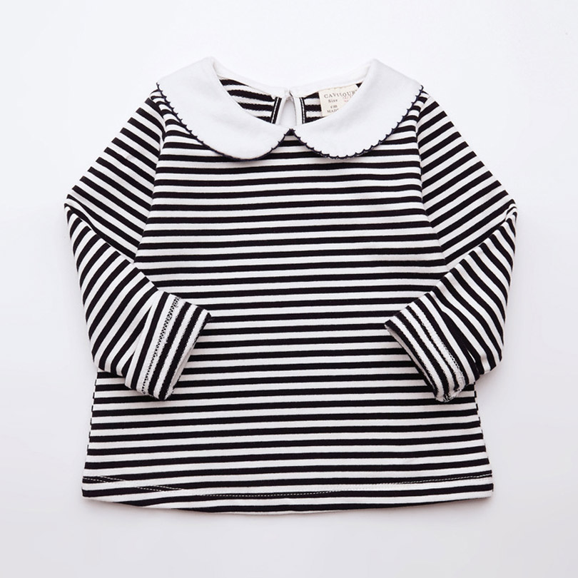 Colorful Childhood Spring Autumn Little Girls T Shirt Toddler Girl Tops Kids Peter Pan Collar White Stripe Blouse Baby Tees утятница нмп