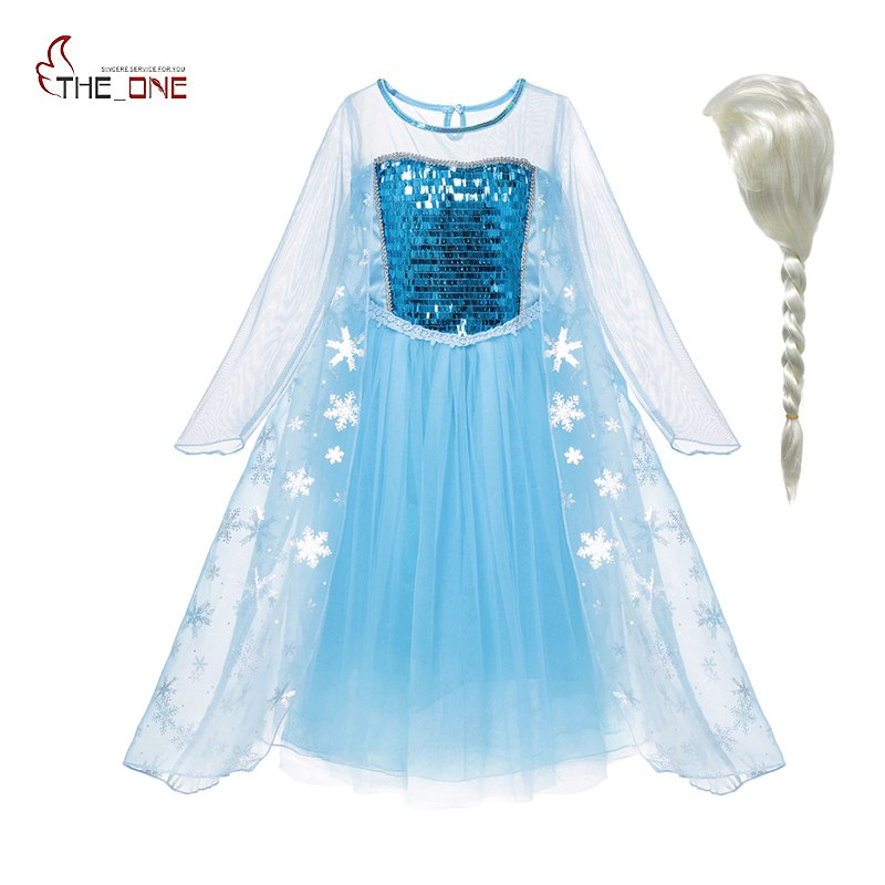 MUABABY Girls Elsa Dress up Clothes Kids Long Sleeve Sequins Snow Queen Elza Princess Cosplay Costume Children Party Gown FrocksMUABABY Girls Elsa Dress up Clothes Kids Long Sleeve Sequins Snow Queen Elza Princess Cosplay Costume Children Party Gown Frocks