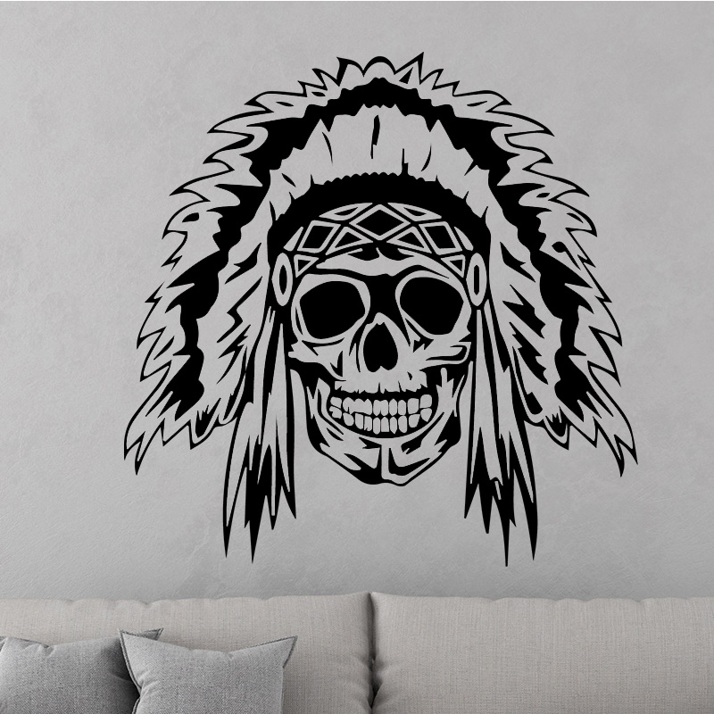 Free Shipping Creative Skull Design Wall Sticker Living Room Removable Vinyl Wall Decals Wallpaper Waterproof Home Decoration in Wall Stickers from Home Garden