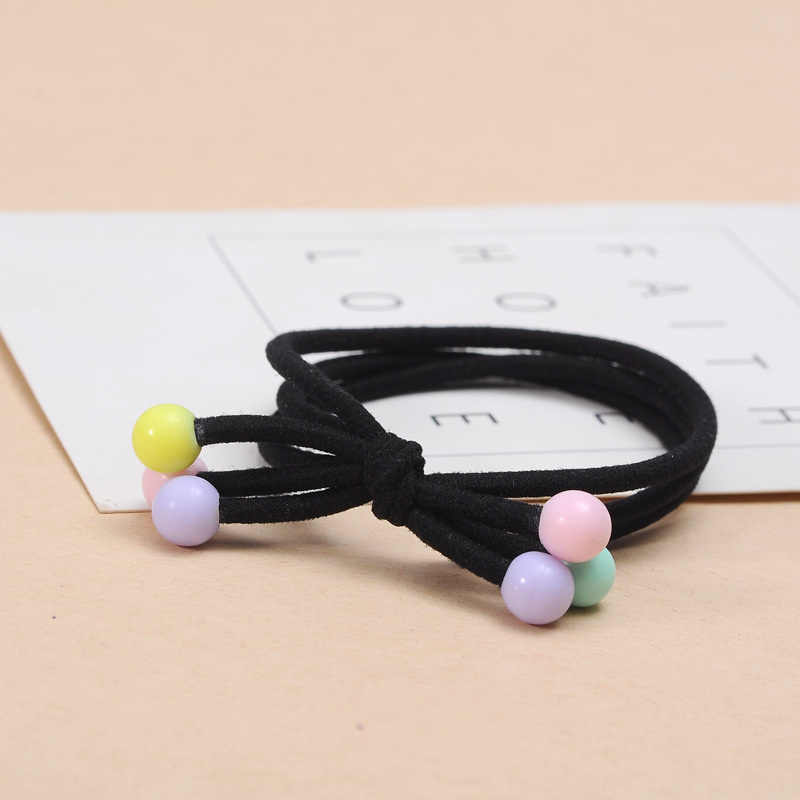 แฟชั่น 10 ชิ้นผมวงยืดหยุ่นผม Hairband ผู้หญิงแหวนลูกอมลูกปัดผู้ถือหางม้าเชือกสีดำของขวัญเครื่องประดับอุปกรณ์เสริมผม