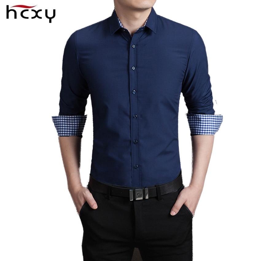 b56ddd35f Hcxy 2017 جديد القطن منقوشة قميص الرجال الفاخرة يتأهل قميص رجالي قمصان  الاجتماعية الرجال السببية camisas hombre M-5XL
