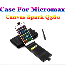 For Micromax Canvas Spark Q380 Case Brand Luxury Quality Leather Cover For Micromax Q 380 Phone Skin Business Flip Case In Stock