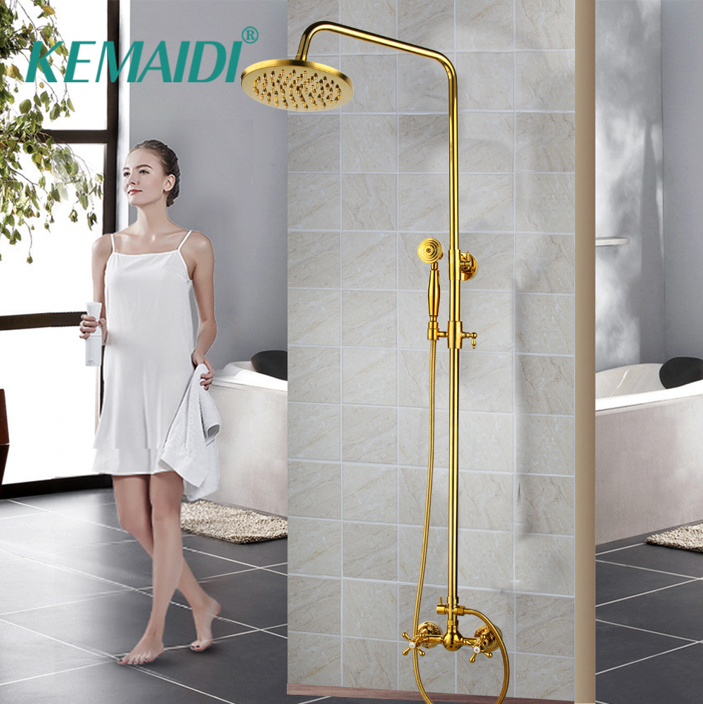 KEMAIDI Bathtub Faucets Luxury Gold Brass Bathroom Faucet Mixer Tap Wall Mounted Hand Held Shower Head Kit Shower Faucet SetsKEMAIDI Bathtub Faucets Luxury Gold Brass Bathroom Faucet Mixer Tap Wall Mounted Hand Held Shower Head Kit Shower Faucet Sets