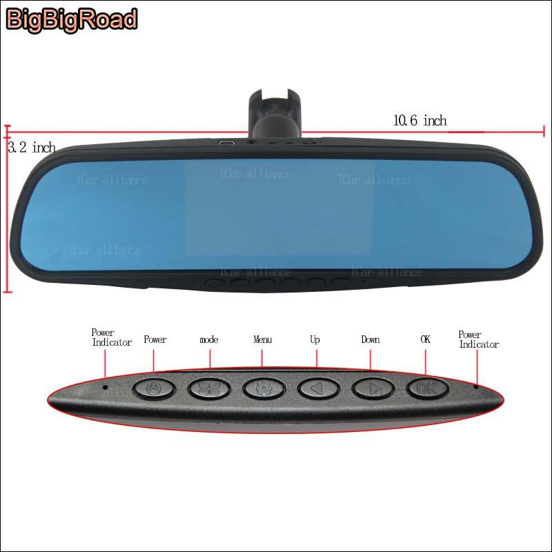 BigBigRoad pour toyota levin double lentille voiture DVR enregistreur vidéo écran bleu miroir Dash Cam caméra de stationnement avec support spécial