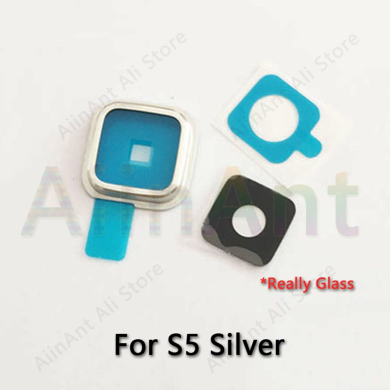 Original For <font><b>Samsung</b></font> <font><b>Galaxy</b></font> <font><b>S5</b></font> G900 <font><b>G900F</b></font> Back Rear Camera Lens Glass Ring Cover With Sticker Repari Part Parts image