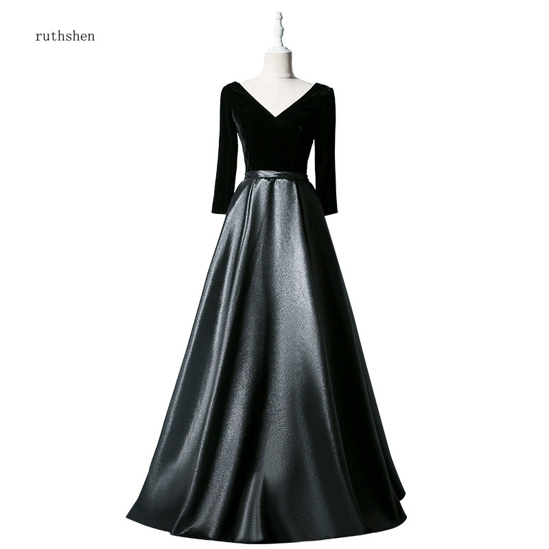 ruthshen 2019 Reflective   Dress     Evening     Dresses   Black Satin V-neck Long Sleeves A-line Simple Formal Gowns For Women's Party
