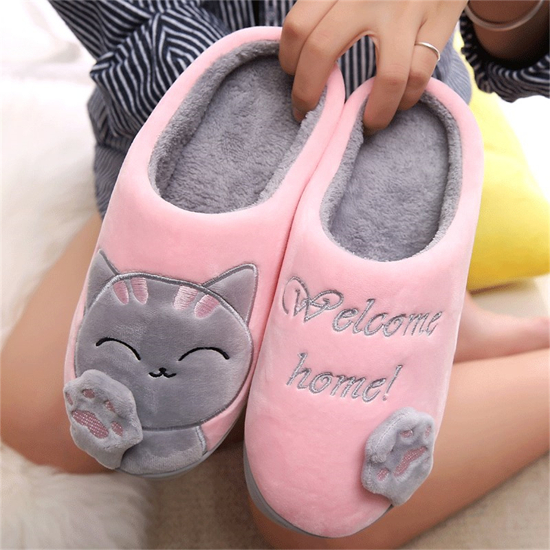 2018 Warm Cat Winter Shoes Women Lovers Home Slippers Comfort Home Shoes For Women Plus Indoor Shoes Fur Slippers cat slippers darseel shoes women s slippers boa