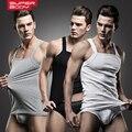 2015 New Arrival Moda SUPERBODY Mens Tanque Sexy Tops + Cuecas de Algodão Colete Sólida Barra T-Shirt do pescoço Roupas # SP10