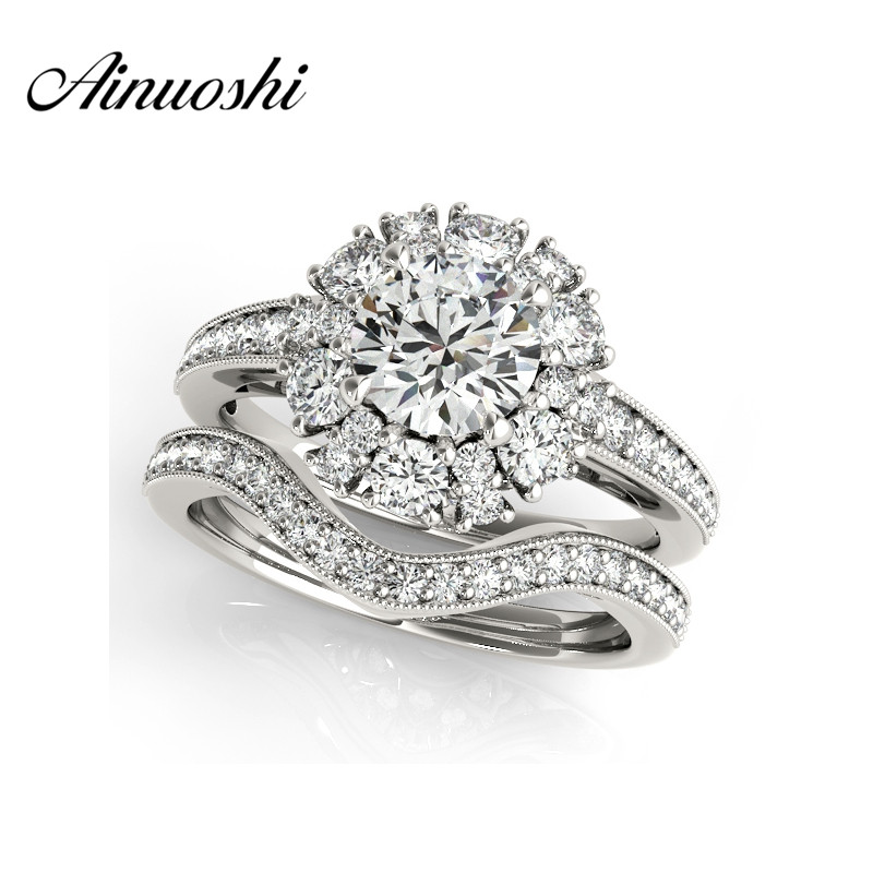 AINUOSHI 925 Sterling Silver Engagement Bridal Ring Sets Round Cut Halo Ring Sets Jewelry Gifts conjuntos de anillos de mujer ainuoshi trendy 925 sterling silver women wedding engagement ring halo 0 5ct emeralded cut ring aniversary gifts anillo de plata