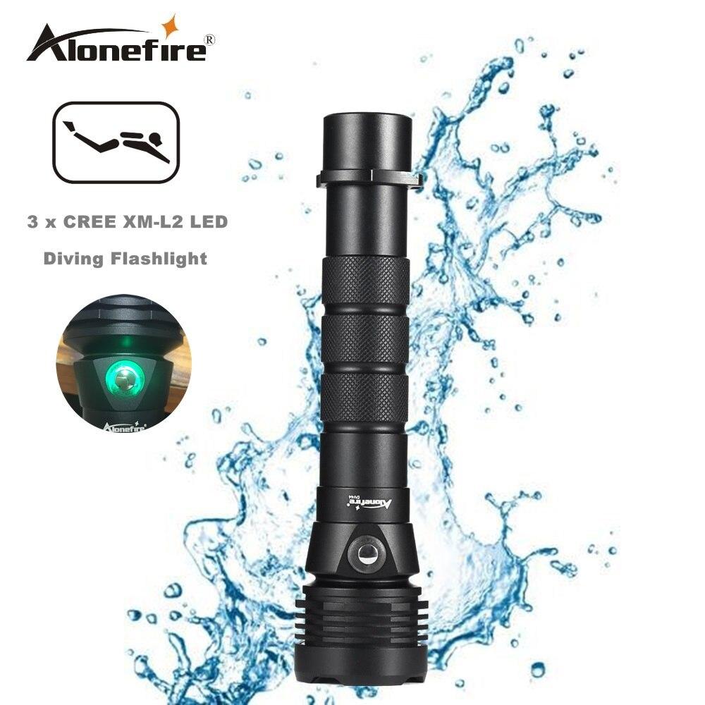 AloneFire DV44 Plongée lampe de Poche Ture Cree XML L2 Plongée Lumière de lampe Étanche Torche blanc 26650 Flash lumières lanterna