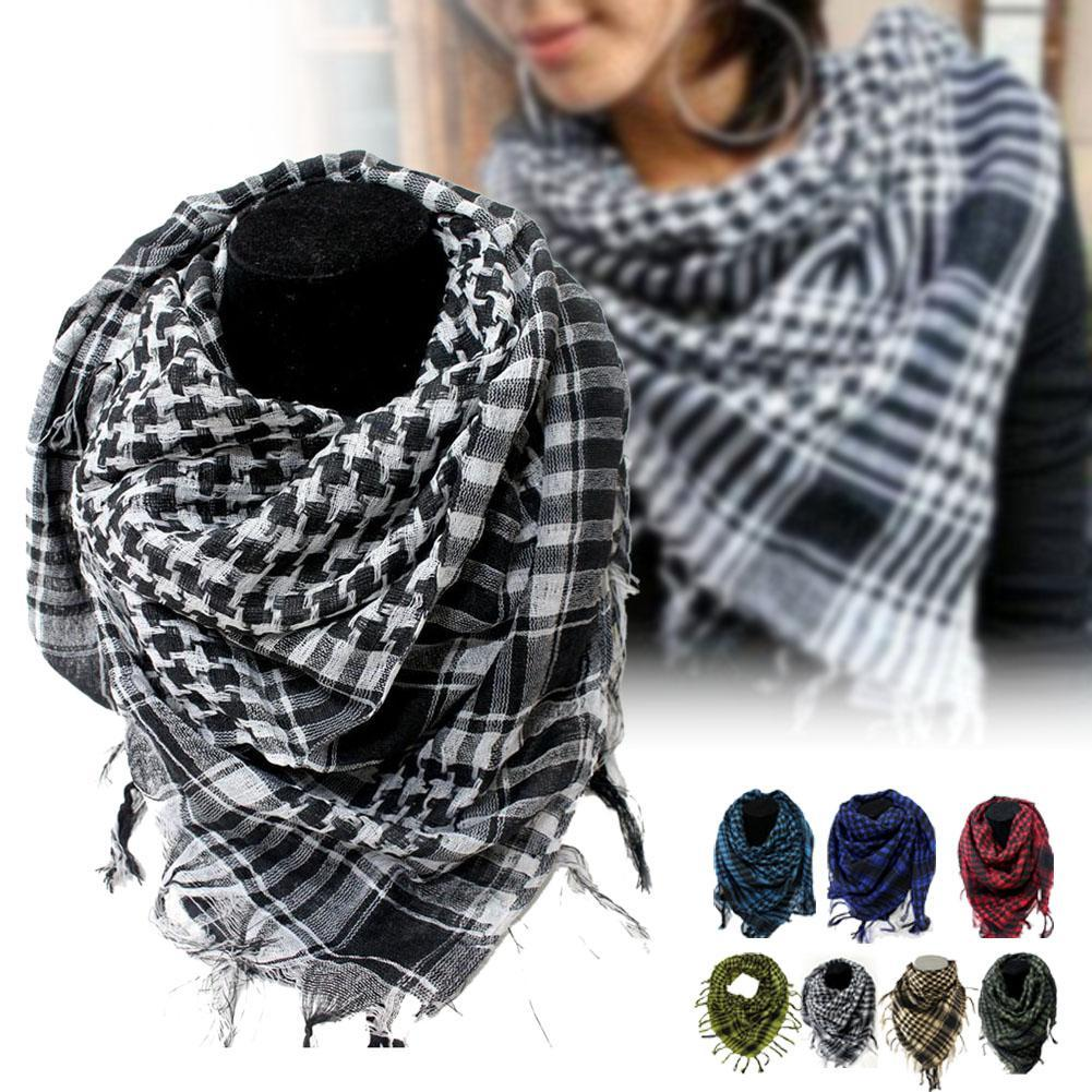 2018 Arab Shemagh Keffiyeh Military Tactical Palestine   Scarf   Shawl Kafiya   Wrap   Hot grid   Scarves   for female male Birthday's Gift