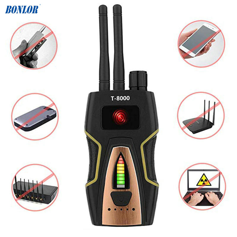 Anti-Spy Wireless RF Signal Detector Bug GPS Camera Signal Detector for Hidden Camera GSM Listening Device T8000 Free Shipping free shipping multi wireless radio wave signal rf gsm device spy pinhole hidden camera lens sensor scanner detector finder cc308