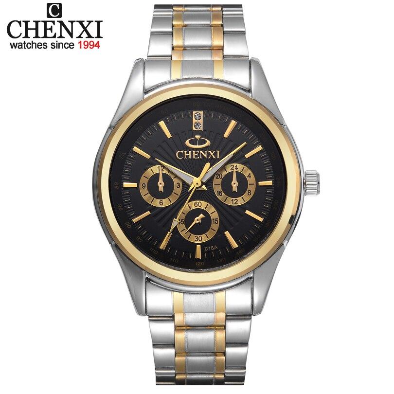 Relogio masculino Fashion CHENXI Quartz Black Dial Men's Clock Watches Men Luxury Brand Men Full Steel Watch Gold Wristwatches