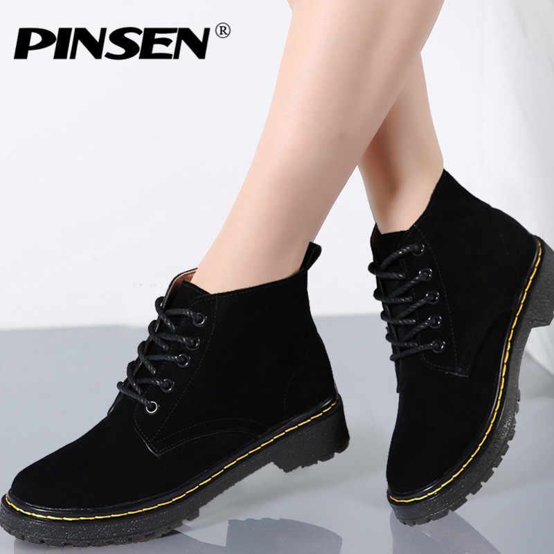 PINSEN 2019 Hakiki Deri Süet yarım çizmeler Kadın Kış Klasik Moda Botları Motosiklet Siyah Ayak Bileği bağcıklı ayakkabı Kadınlar için