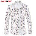 LONMMY seda de manga larga Para Hombre camisas de algodón de Moda Polka dot de alta calidad para hombre camisas de vestido de slim fit Casual Nuevo 2016 M-5XL