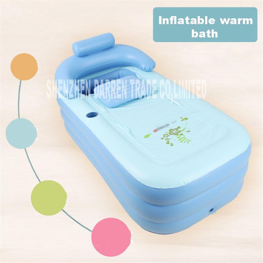 YG001 adulte Spa PVC pliant Portable baignoire en plastique pour adultes baignoire gonflable taille 160 cm * 84 cm * 64 cm + pied pompe à Air