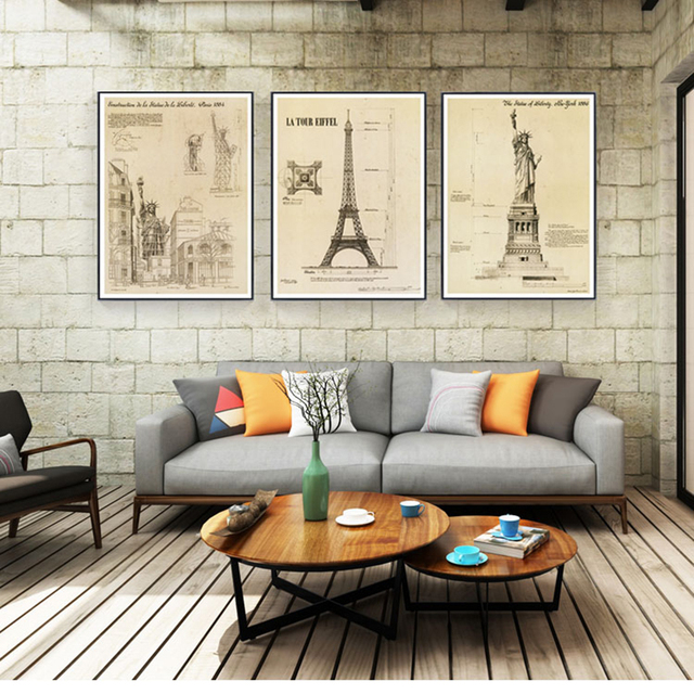 Aliexpress Buy Building Drawings Wall Art Eiffel Tower Statue Enchanting Blueprint Interior Design Painting