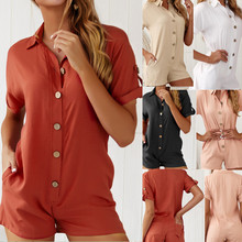 2019 new summer cotton and linen solid color short-sleeved casual shorts jumpsuit